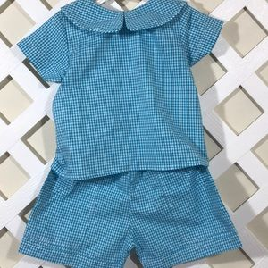 Other - Sz 3 T blue gingham check summer short 2 pc NWT
